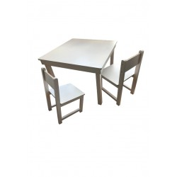 Ensemble table et deux chaises blanches Made in France Anciennes Collection Petit Pouce Factory