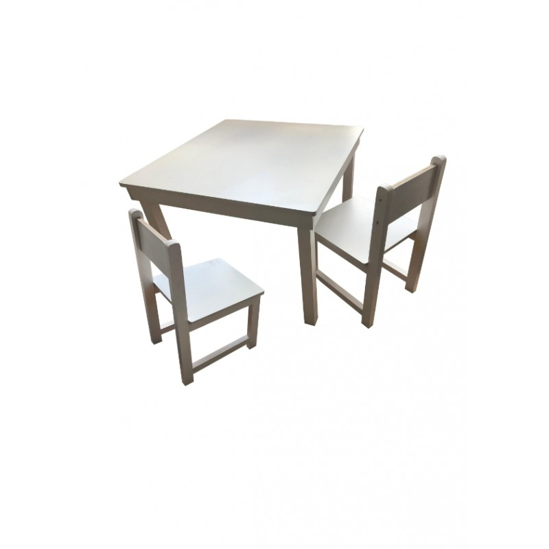 Ensemble table et deux chaises blanches Made in France Anciennes Collection