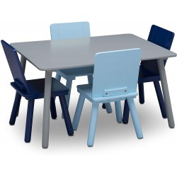 Table grise et 4 chaises bleues Mobilier Delta Children