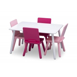Lot table blanche et 4 chaises roses Mobilier Delta Children